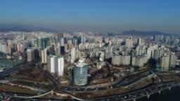 Aerial of Seoul, South Korea