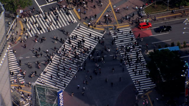 vídeos y material grabado en eventos de stock de aerial of shibuya scramble crossing metropolis intersection tokyo - distrito de shibuya