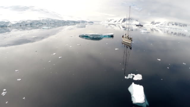 aerial of ship in antarctic waters - glacier stock videos & royalty-free footage