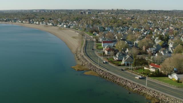 Aerial Of Shoreline In Boston Suburb