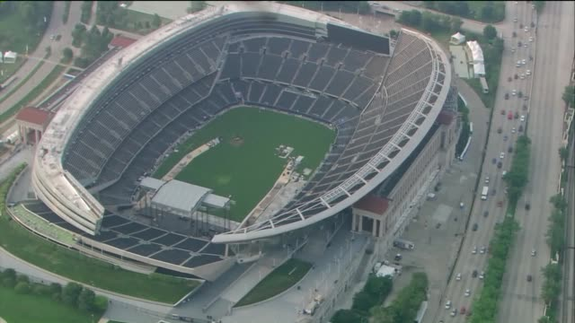 WGN Aerial of Soldier Field in Chicago in July 2015