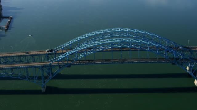 aerial of south grand island bridge over niagara river, daytime - river niagara stock videos & royalty-free footage