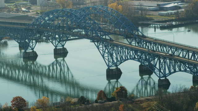 aerial of south grand island bridge over niagara river, daytime - buffalo new york state stock videos & royalty-free footage