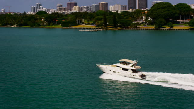 Aerial of speed boat moving fast, Miami Florida