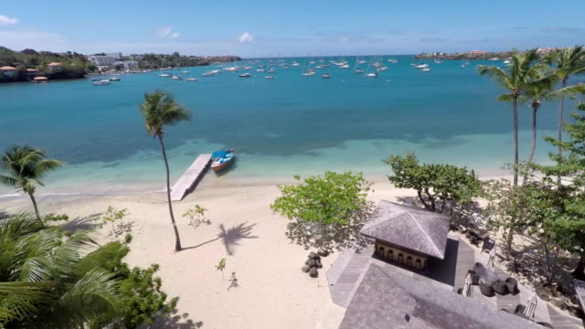 aerial of st george's bay / grenada, carribbean - anchored stock videos & royalty-free footage