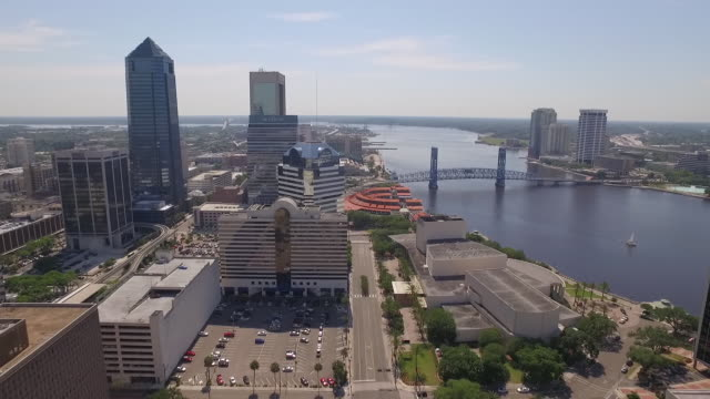 aerial of st. johns river in jacksonville florida - jacksonville florida stock videos and b-roll footage