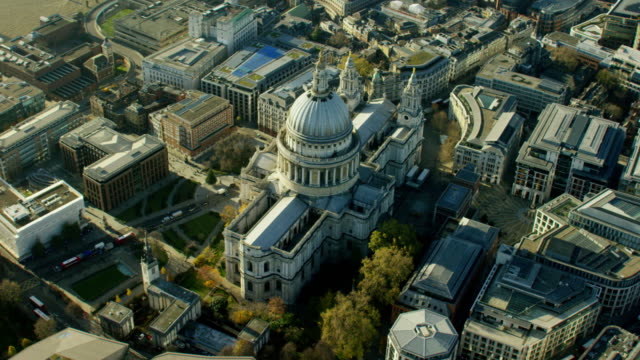Aerial of St Paul's Cathedral London UK