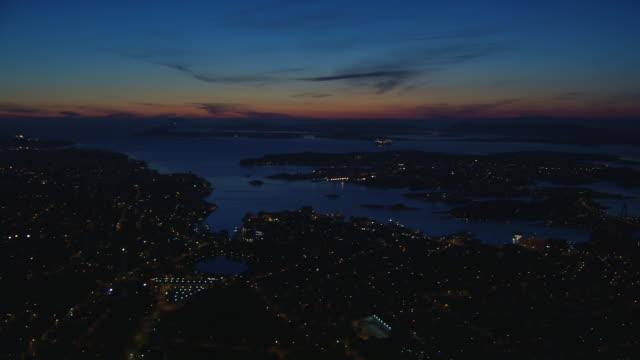 aerial of stavanger city with platform at night. - stavanger stock videos & royalty-free footage