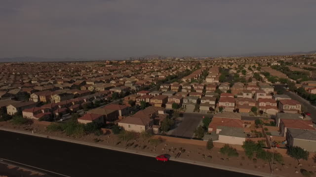 4K aerial of subdivision and neighborhood on the outskirts of Las Vegas, Nevada, USA