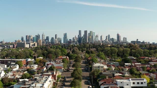 aerial of suburban melbourne and cbd - urban sprawl stock videos & royalty-free footage