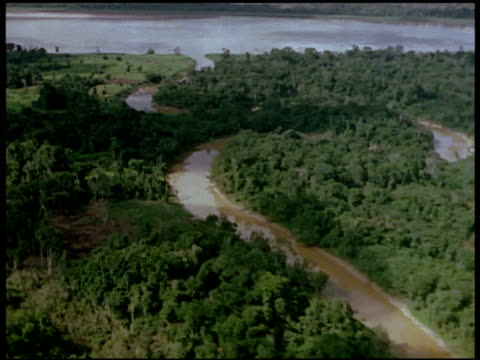 Aerial of the Amazon River system looping its way through the rain forest