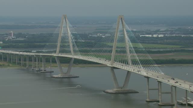aerial of the arthur ravenel jr. bridge - carolina del sud video stock e b–roll