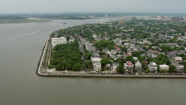 aerial of the battery in charleston sc - south carolina stock videos & royalty-free footage