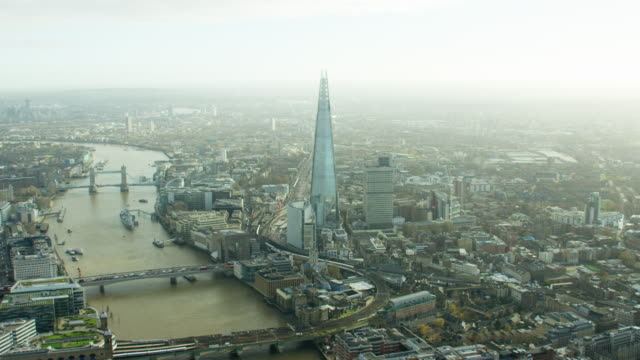 Aerial of the bridges spanning the River Thames