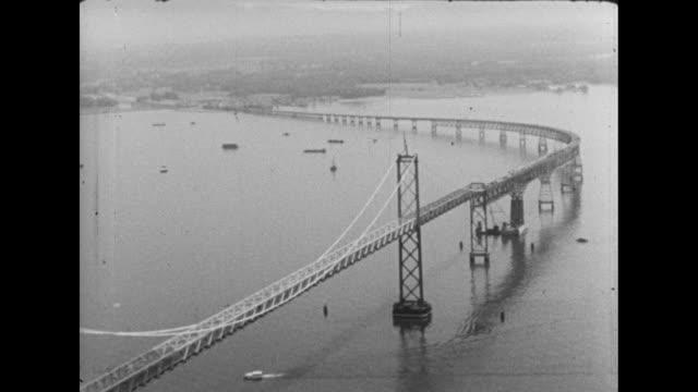 aerial of the chesapeake bay bridge between virginia beach and cape charles in virginia - 1952 stock videos & royalty-free footage