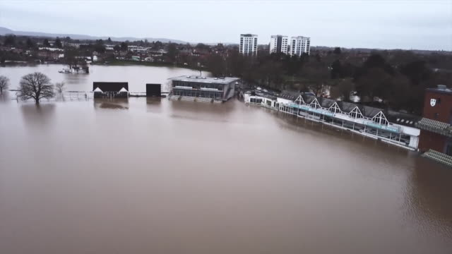 aerial of the flooded worcester county cricket ground caused by heavy rain after storm dennis - pitch stock videos & royalty-free footage