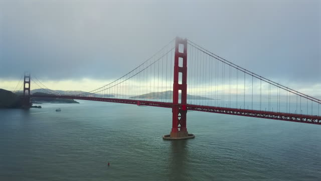 Aerial of the Heavy Structured Golden Gate Bridge