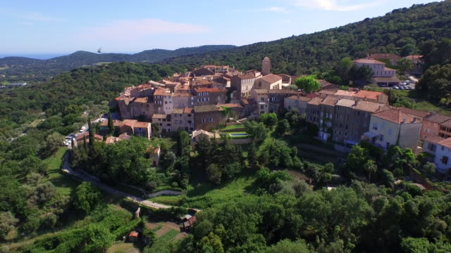 Aerial of the hilltop town of Ramatuelle / Saint-Tropez, France