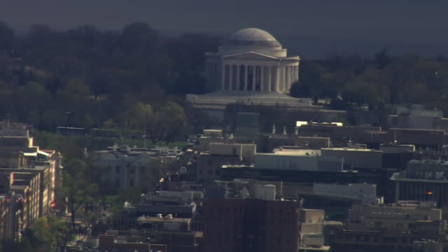aerial of the jefferson memorial in dc at sunset - jefferson memorial stock videos & royalty-free footage