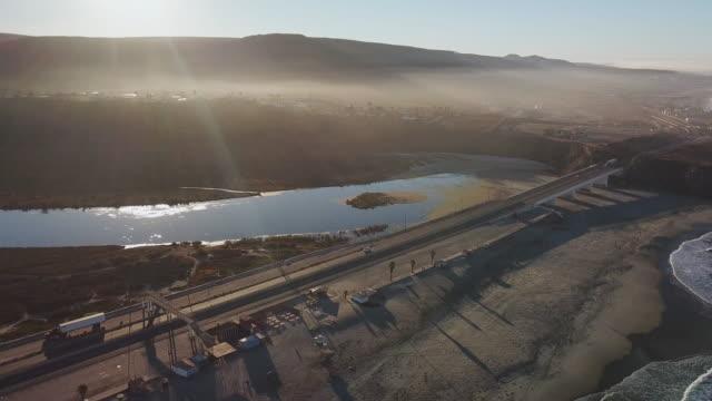 Aerial of the Lagoon River Beside the Bridge in Baja