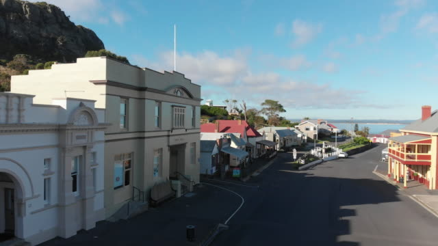 4K aerial of the picturesque town of Stanley on the far north western coast of Tasmania