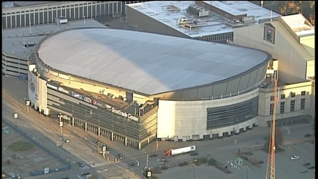 ktvi aerial of the scottrade center an arena that is home of the st louis blues of the national hockey league in downtown st louis missouri on oct 19... - blues stock videos & royalty-free footage