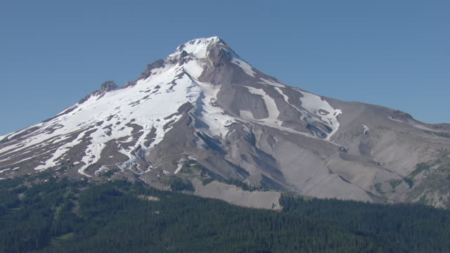 Aerial of the snow covered peak of Mount Hood, in Oregon.