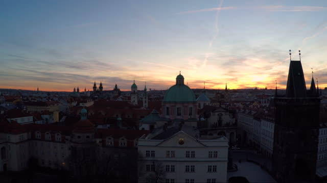 aerial of the spires of prague at sunset - st frantisek church stock videos and b-roll footage