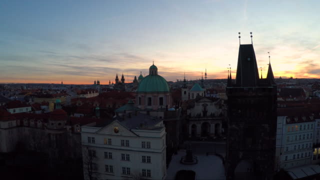aerial of the spires of prague at sunset - st frantisek church stock videos & royalty-free footage