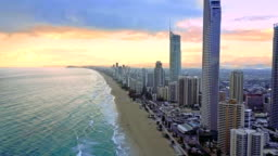Aerial of the Surfers Paradise skyline on Queensland's Gold Coast