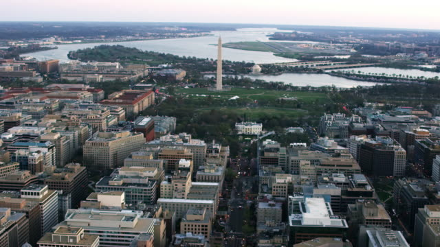 Aerial of The White House and Washington DC, sunset