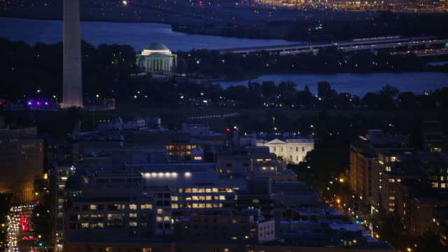 aerial of the white house sunset, night washington d.c. - jefferson memorial stock videos & royalty-free footage