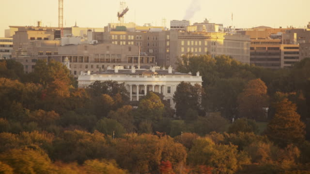 aerial of the white house with lights on, morning washington dc - white house washington dc stock videos and b-roll footage