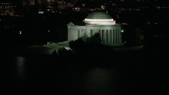 Aerial of Thomas Jefferson Memorial, Washington DC night