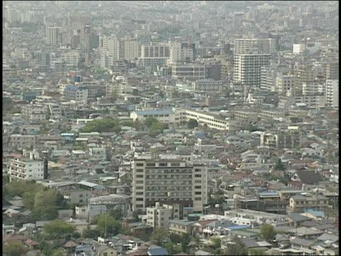 aerial of tokyo cityscape - 1990年点の映像素材/bロール