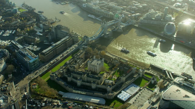 aerial of tower bridge by tower of london - tower of london stock videos & royalty-free footage