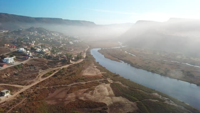 Aerial of Town and River in Baja Mexico
