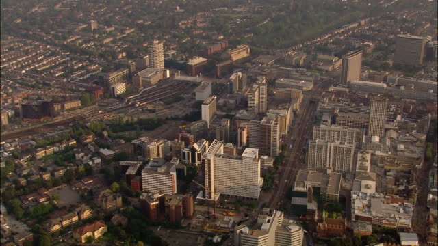 aerial of town center of croydon, surrey, england - 2005 stock videos & royalty-free footage