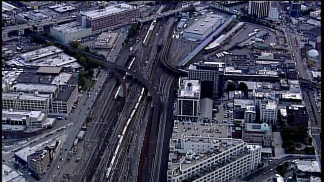 aerial of train traffic on the long island rail road in jamaica queens train traffic on the long island rail road on october 23 2013 in queens new... - long island railroad stock videos & royalty-free footage
