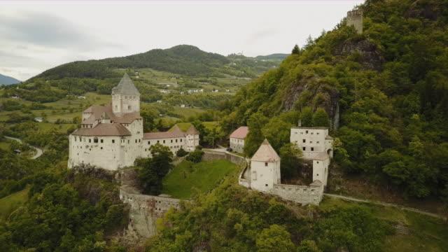 Aerial of Trostburg castle in south tyrolia