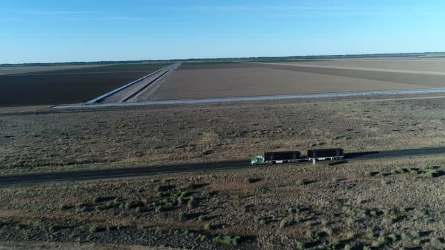 Aerial of truck driving through outback desert landscape