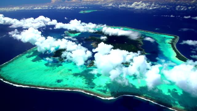 Aerial of Tupai and Bora Bora South Pacific