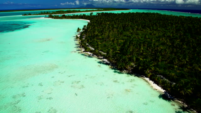 Aerial of Tupai Heart Island coral reef atoll