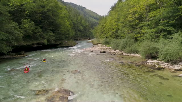 aerial of two kayaks on the river drau in austria - traditionally austrian stock videos & royalty-free footage