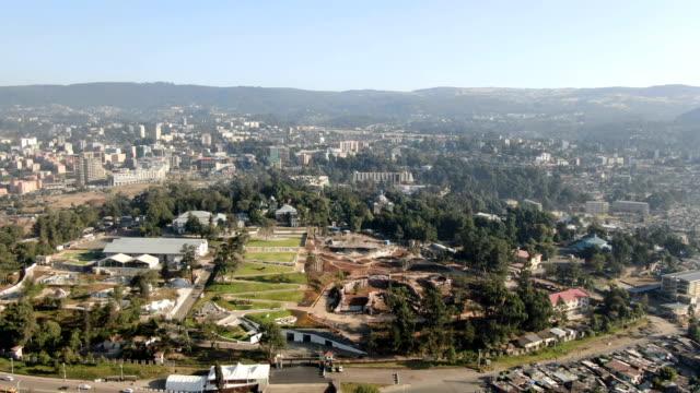 aerial of unity park ,menelik palace ,ba'eta le mariam monastery/ addis ababa - horn of africa stock videos & royalty-free footage