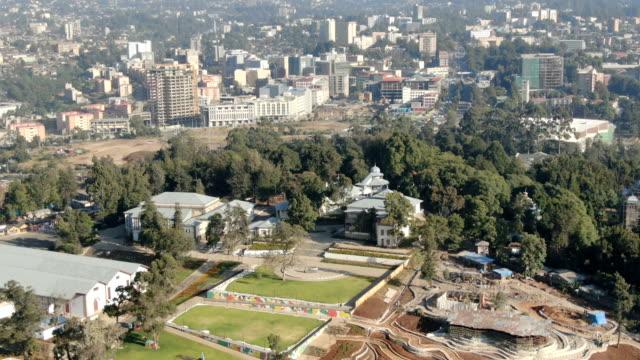 aerial of unity park ,menelik palace ,ba'eta le mariam monastery/ addis ababa - アジスアベバ点の映像素材/bロール
