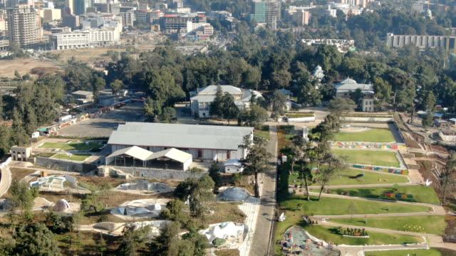 aerial of unity park ,menelik palace , ba'eta le mariam monastery/ addis ababa - アジスアベバ点の映像素材/bロール