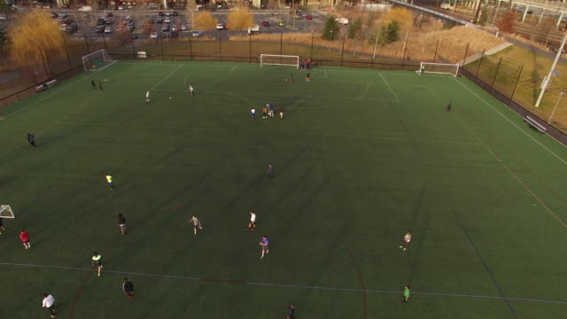 Aerial of UPenn soccer match