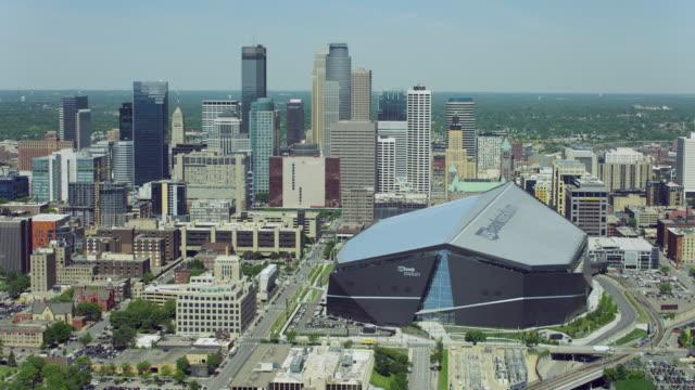 Aerial Of US Bank Stadium In Downtown Minneapolis