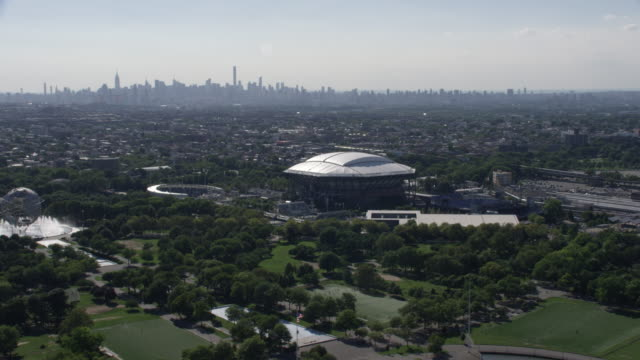 Aerial of US Open Stadium with rooftop
